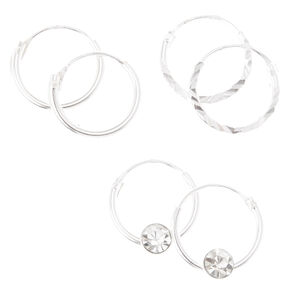 Sterling Silver Textured Hoop Earrings - 3 Pack,