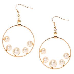 Gold Tone Flat Open Circle Floating Faux Pearls Drop Earrings,