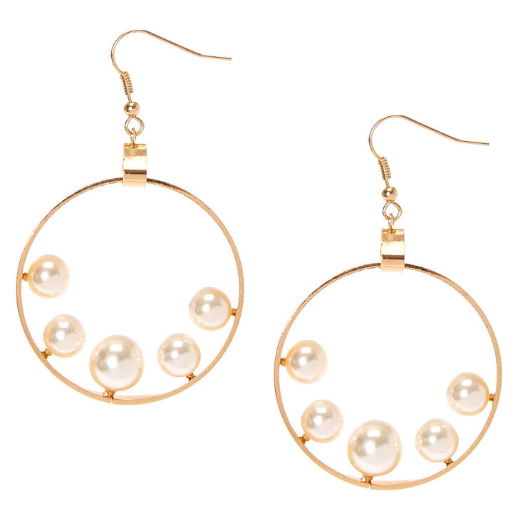 Gold Tone Flat Open Circle Floating Faux Pearls Drop Earrings,