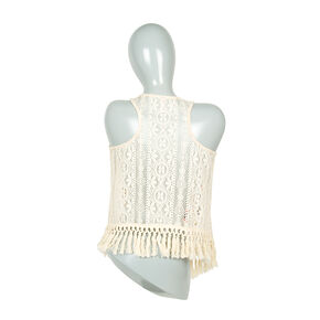 Embroidered Festival Print & Crocheted Lace Vest with Tassel Fringe,