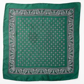 Floral Paisley Silky Bandana Headwrap - Hunter Green,