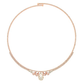 Rose Gold Tear Drop Choker Necklace,
