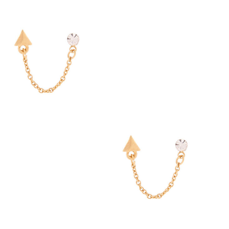 Gold Plated 3MM Crystal Triangle Connector Earrings,