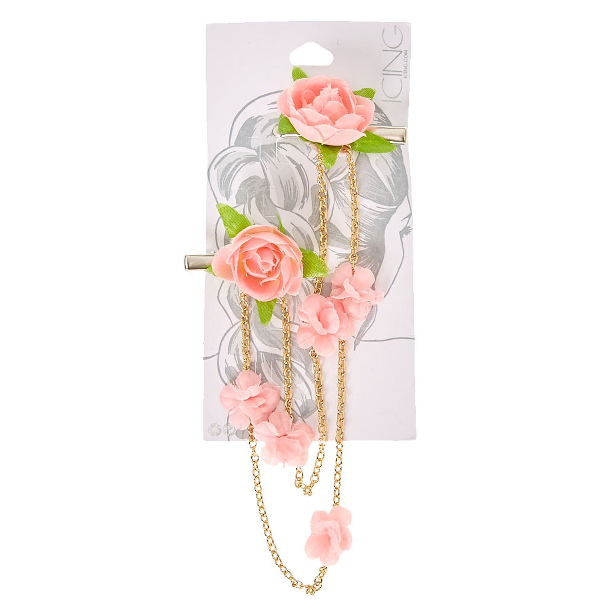 Pink flower gold chains hair swag clips icing us pink flower amp gold chains hair swag mightylinksfo