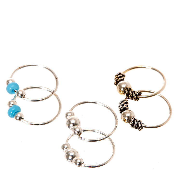 925 Sterling Silver Turquoise Hoop Earrings,