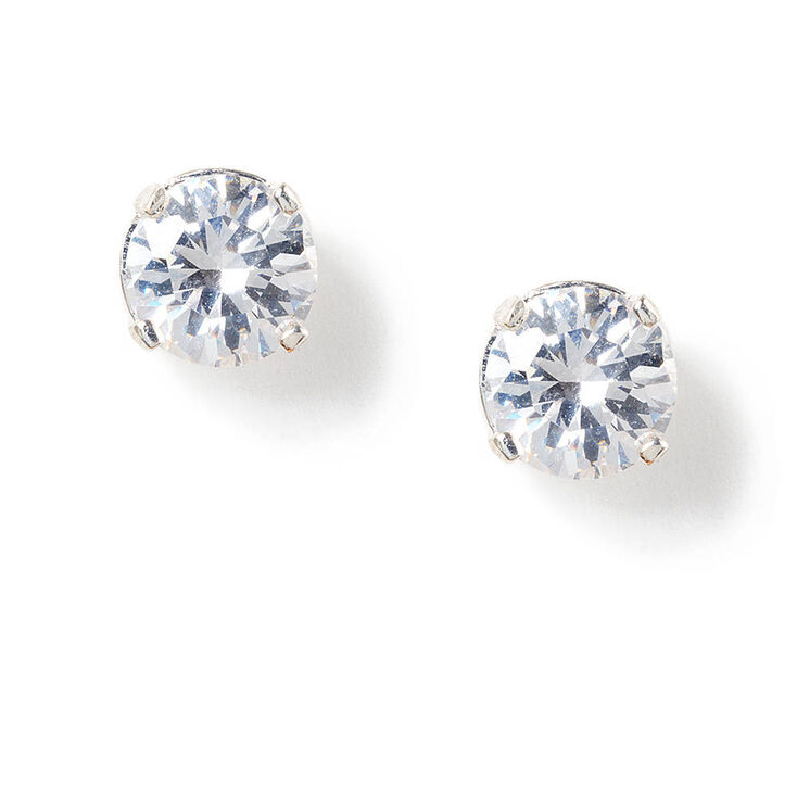 Silver Cubic Zirconia Love Setting Round Stud Earrings - 8MM,