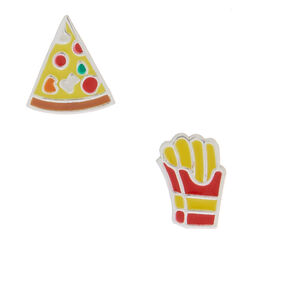 Sterling Silver Pizza & Fries Stud Earrings,