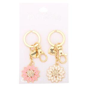 Best Friends Crystal Flower Keychains - Gold, 2 Pack,