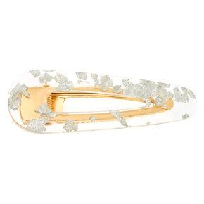 Gold Foil Jumbo Hair Clip - Silver,