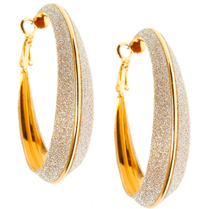 Gold 60MM Glitter Hoop Earrings,