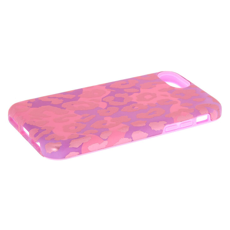 Pink Leopard Print Protective Phone Case - Fits iPhone 6/7/8/SE,