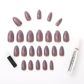 Glossy Stiletto Faux Nail Set - Plum, 24 Pack,
