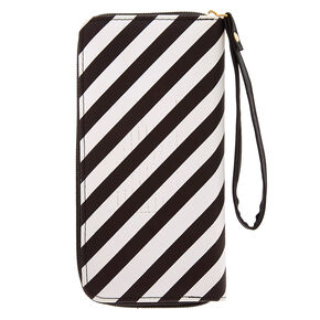 Black + White Striped Wristlet,