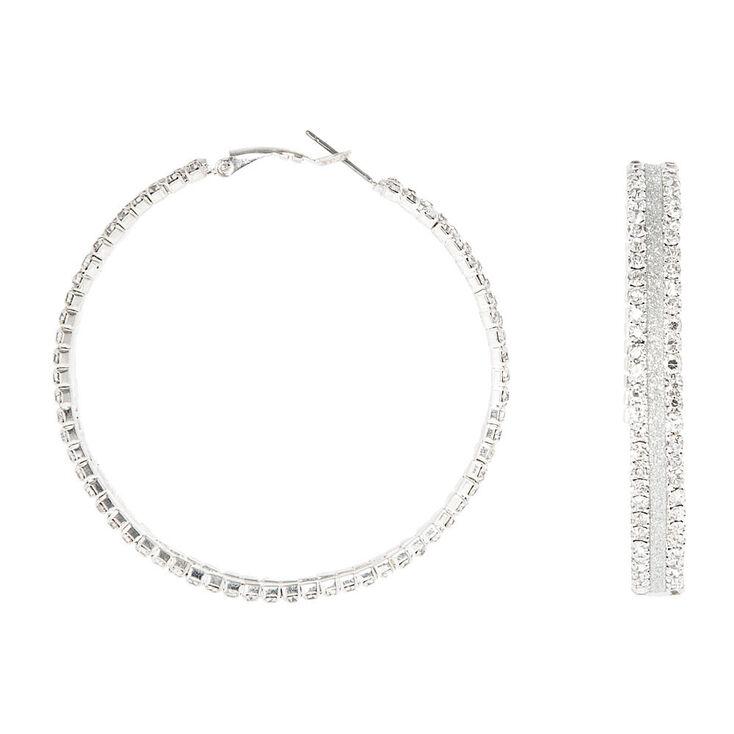 60MM Silver Glitter Hoop Earrings,
