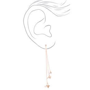 """Rose Gold Rhinestone 2"""" Butterfly Drop Earrings,"""