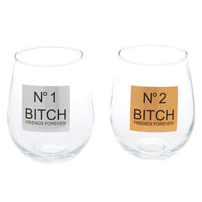 Number 1 & Number 2 Bitch Friends Forever Wine Glass Set - 2 Pack,
