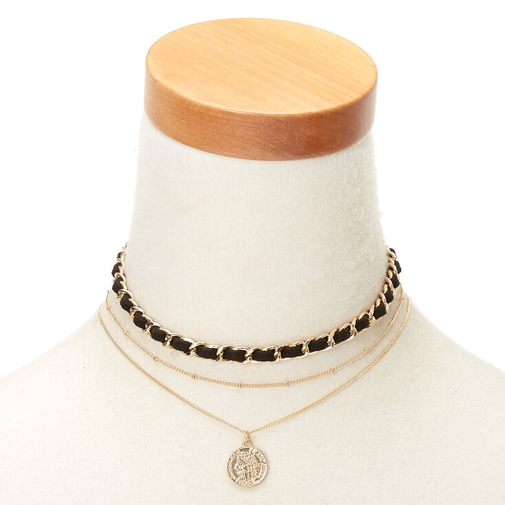 Gold Woven Coin Choker Necklaces - 3 Pack,