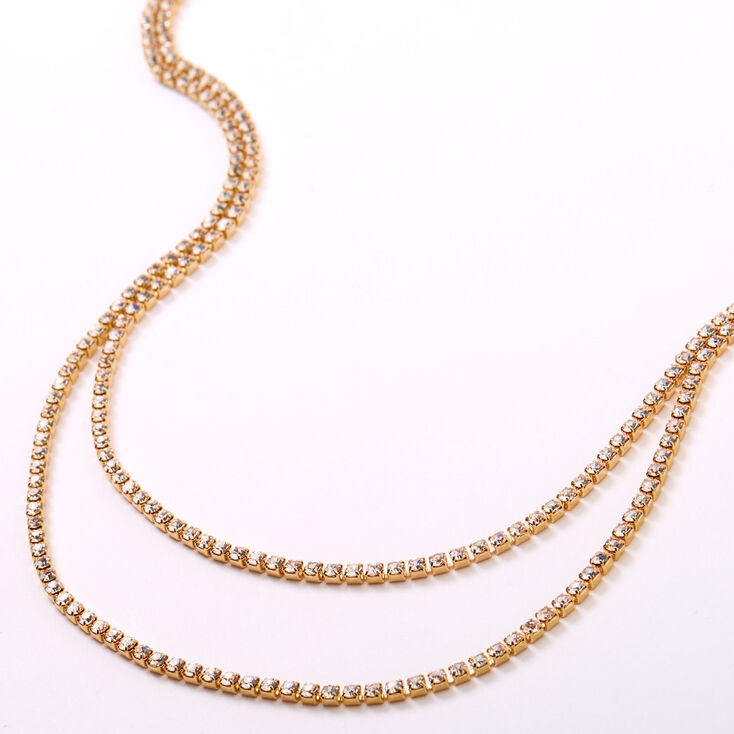Gold Rhinestone Long Necklaces - 2 Pack,