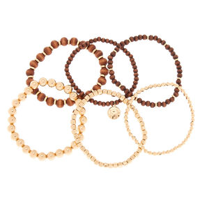 Gold Wooden Stretch Bracelets - 6 Pack,