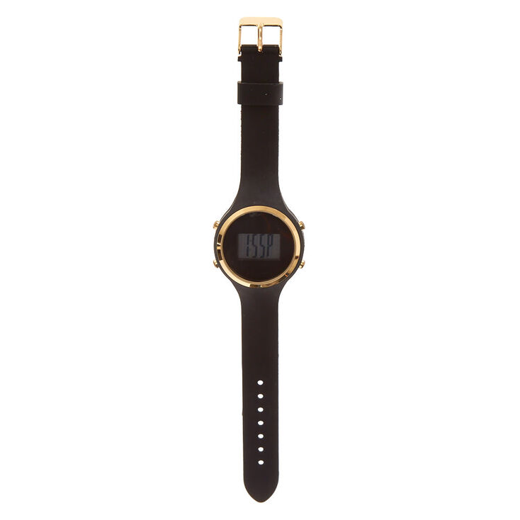 Black Silicone Digital Watch,