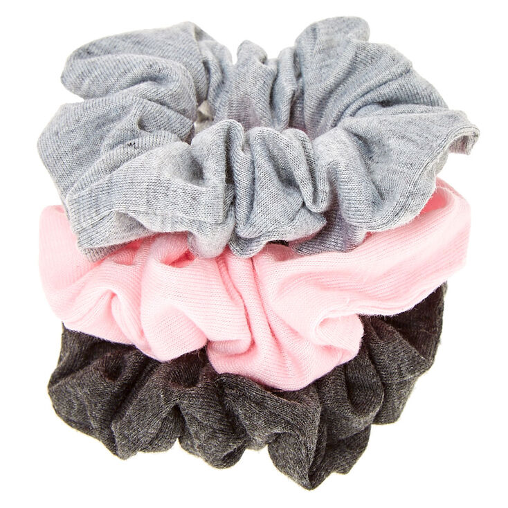 Small Pink & Grey Hair Scrunchies - 3 Pack,