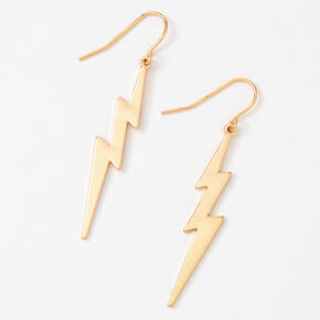 "Gold 2"" Lightning Bolt Drop Earrings,"