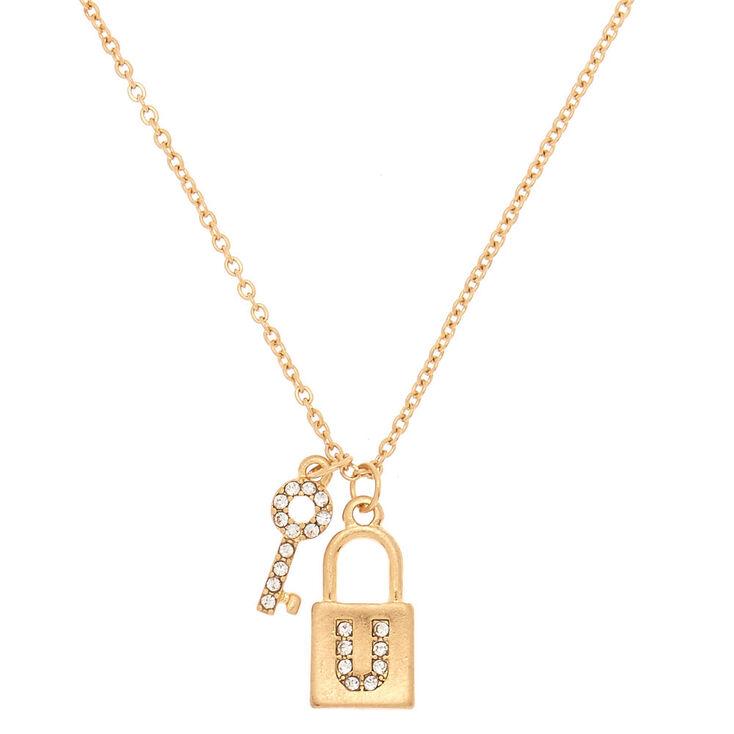 Gold Lock & Key Initial Pendant Necklace - U,