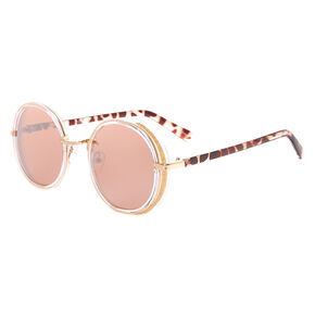 Gold Glitter Round Sunglasses - Blush,