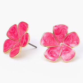Gold Swirl Flower Stud Earrings - Pink,