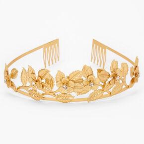 Gold Glam Rhinestone Flower Tiara,