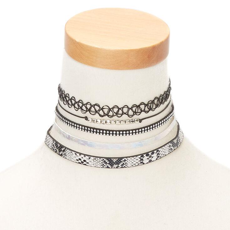Silver Metallic Snake Print Choker Necklaces - 5 Pack,