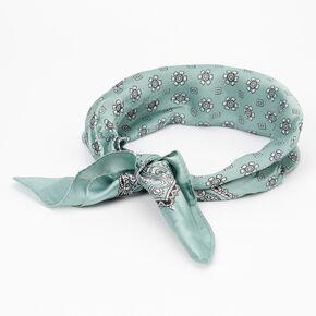Silky Paisley Bandana Headwrap - Seafoam,