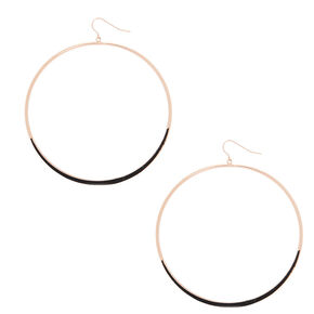 "Rose Gold 3"" Glitter Large Hoop Drop Earrings - Rose Gold,"