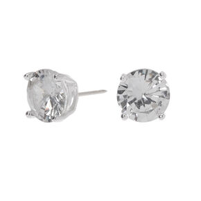 Sterling Silver Cubic Zirconia 7MM Round Stud Earrings,