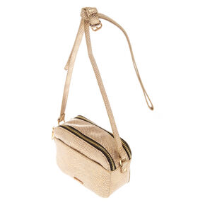 Snake Skin Crossbody Bag - Gold,
