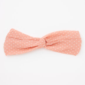 Polka Dot Twisted Pleated Headwrap - Blush,