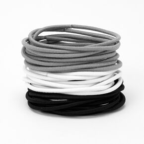 Black, Gray & White Luxe Hair Ties - 30 Pack,