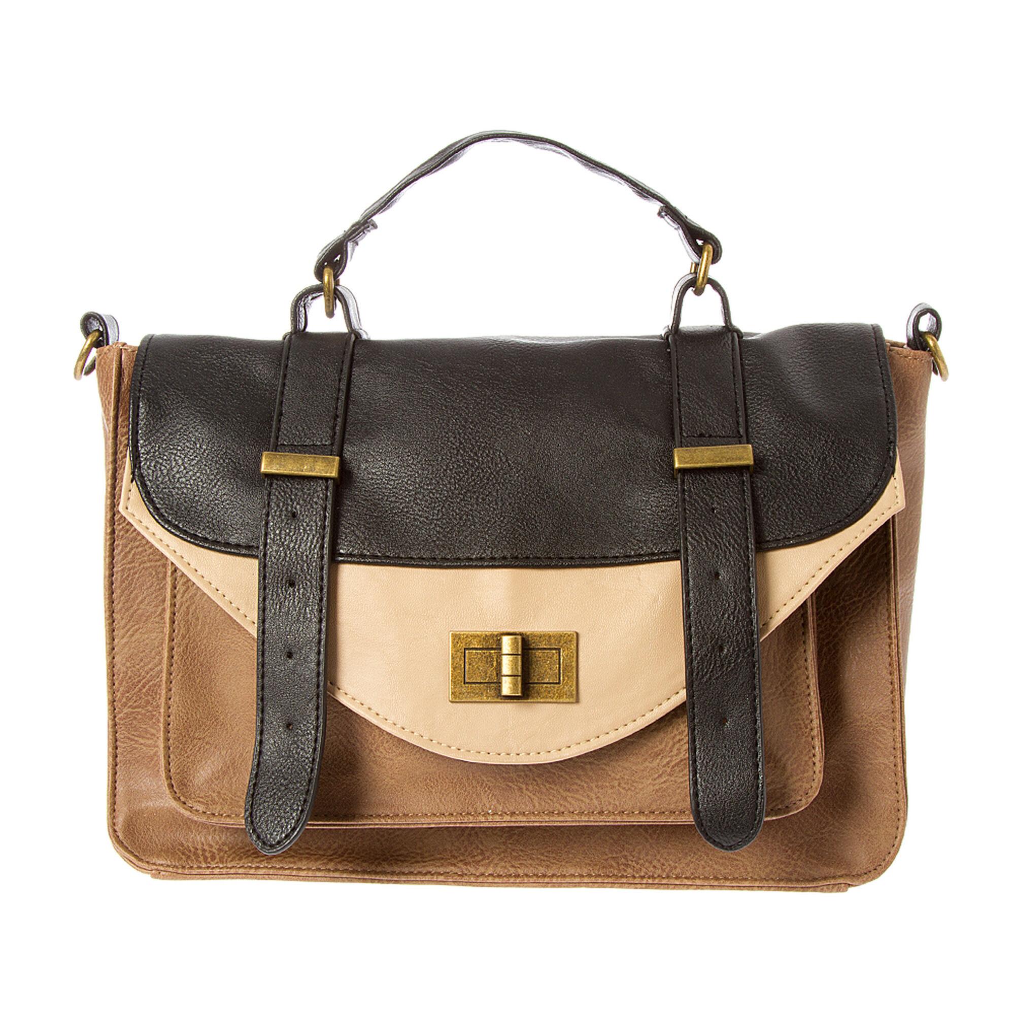 0d5dceb529ba Black  amp  Tan Faux Leather Crossbody Bag ...
