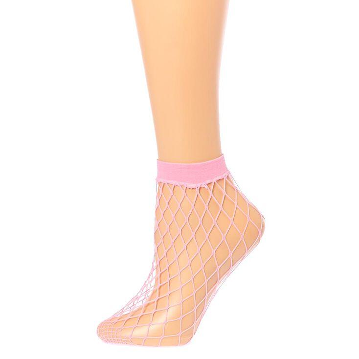 Blush Fishnet Ankle Socks,