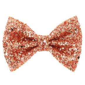 Glitter Mini Hair Bow Clip - Rose Gold,