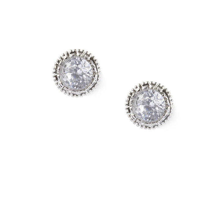 Vintage Style Jewelry, Retro Jewelry Icing 5MM Round Cubic Zirconia Vintage Set Stud Earrings $8.99 AT vintagedancer.com