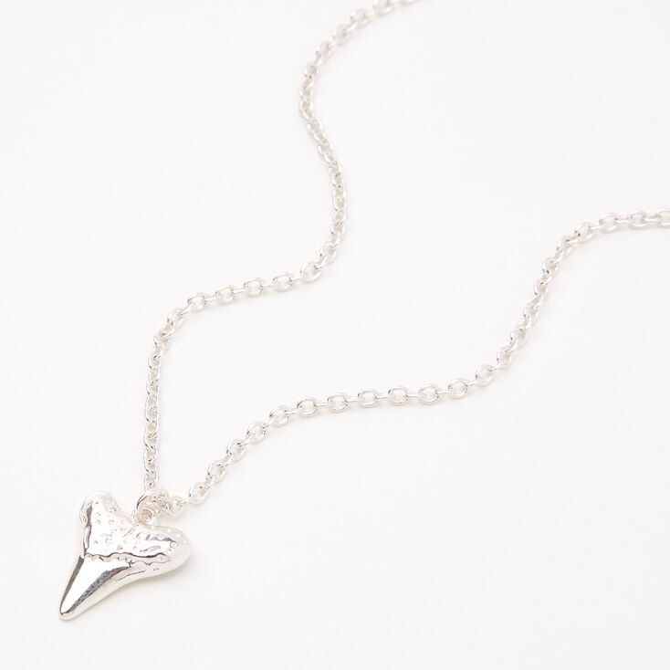 Silver Shark Tooth Pendant Necklace,