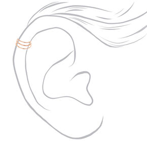 Rose-Gold tone Triple Wire Band Ear Cuff,