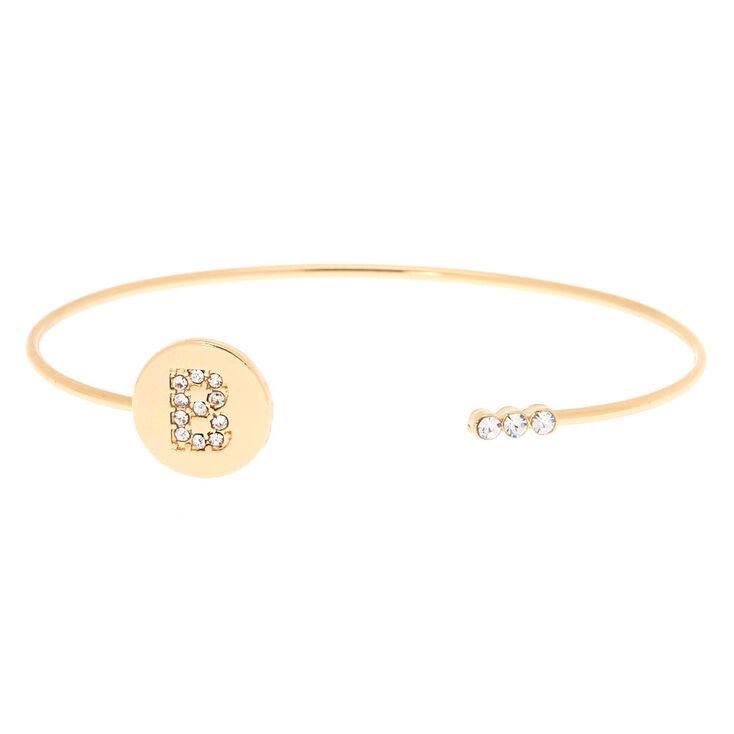 Gold Initial Cuff Bracelet - B,
