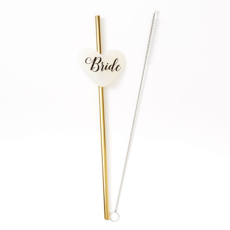 Bride Heart Stainless Steel Straw - Gold,