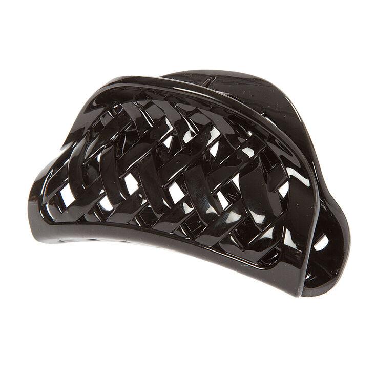 Black Basket Weave Claw Clip,