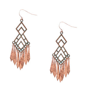 Antiquated Copper Geometric Drop Earrings,