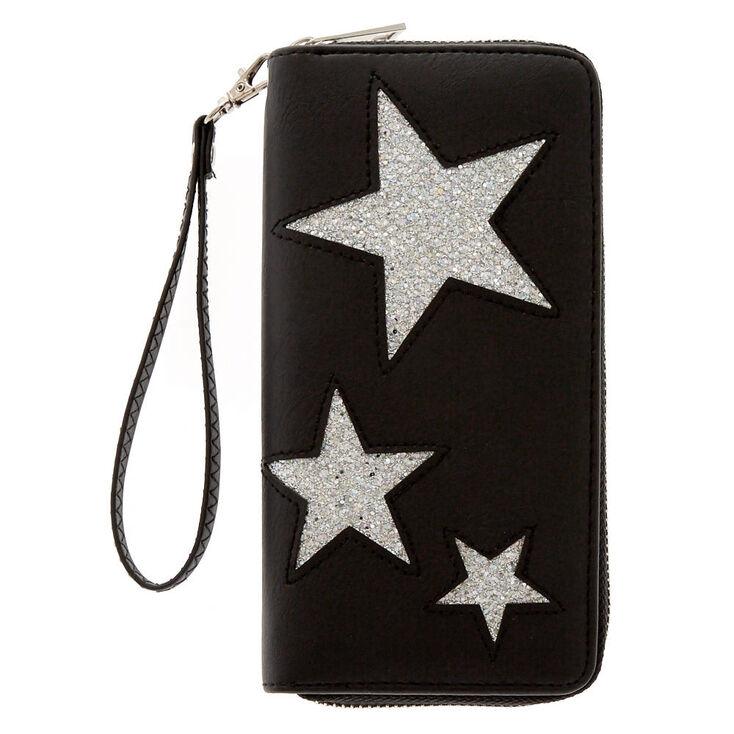 Black & Silver Stars Wristlet Wallet,