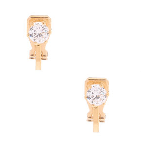 Gold Cubic Zirconia 5MM Round Clip On Stud Earrings,