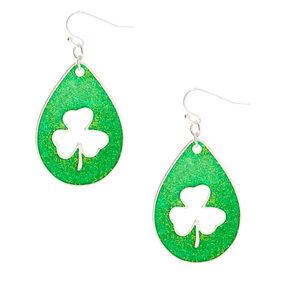 """Silver 2"""" Shamrock Drop Earrings - Green,"""